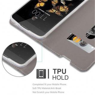 Cadorabo Hülle für LG K8 2016 in GRAU SCHWARZ - Handyhülle mit Magnetverschluss, Standfunktion und Kartenfach - Case Cover Schutzhülle Etui Tasche Book Klapp Style - Vorschau 4