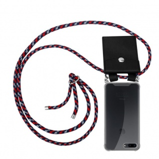 Cadorabo Handy Kette für Apple iPhone 8 PLUS / 7 PLUS / 7S PLUS in ROT BLAU WEISS Silikon Necklace Umhänge Hülle mit Silber Ringen, Kordel Band Schnur und abnehmbarem Etui Schutzhülle
