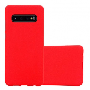 Cadorabo Hülle für Samsung Galaxy S10 in FROST ROT - Handyhülle aus flexiblem TPU Silikon - Silikonhülle Schutzhülle Ultra Slim Soft Back Cover Case Bumper