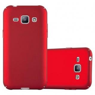 Cadorabo Hülle für Samsung Galaxy J1 2015 in METALL ROT Hardcase Handyhülle aus Plastik gegen Kratzer und Stöße Schutzhülle Bumper Ultra Slim Back Case Hard Cover