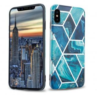 Cadorabo Hülle für Apple iPhone X / XS Hülle in Blaue Welle Marmor No.13 Handyhülle aus TPU Silikon mit Muster Mosaik Silikonhülle Schutzhülle Ultra Slim Back Cover Case Bumper
