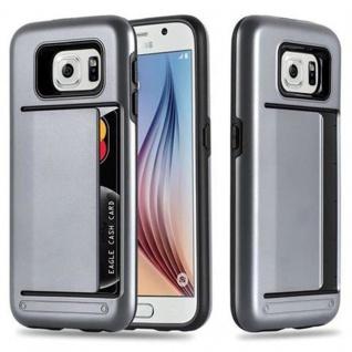 Cadorabo Hülle für Samsung Galaxy S6 - Hülle in ARMOR SILBER ? Handyhülle mit Kartenfach - Hard Case TPU Silikon Schutzhülle für Hybrid Cover im Outdoor Heavy Duty Design