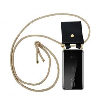 Cadorabo Handy Kette für Nokia 3.2 in GLÄNZEND BRAUN Silikon Necklace Umhänge Hülle mit Gold Ringen, Kordel Band Schnur und abnehmbarem Etui Schutzhülle
