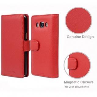 Cadorabo Hülle für Samsung Galaxy J5 2016 in INFERNO ROT - Handyhülle mit Magnetverschluss und 3 Kartenfächern - Case Cover Schutzhülle Etui Tasche Book Klapp Style - Vorschau 5