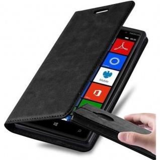 Cadorabo Hülle für Nokia Lumia 830 in NACHT SCHWARZ - Handyhülle mit Magnetverschluss, Standfunktion und Kartenfach - Case Cover Schutzhülle Etui Tasche Book Klapp Style
