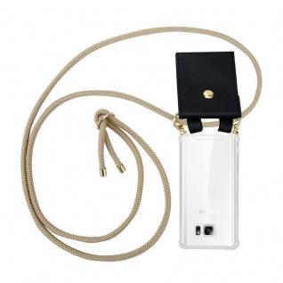 Cadorabo Handy Kette für Samsung Galaxy NOTE 5 in GLÄNZEND BRAUN - Silikon Necklace Umhänge Hülle mit Gold Ringen, Kordel Band Schnur und abnehmbarem Etui ? Schutzhülle
