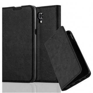 Cadorabo Hülle für LG X SCREEN in NACHT SCHWARZ - Handyhülle mit Magnetverschluss, Standfunktion und Kartenfach - Case Cover Schutzhülle Etui Tasche Book Klapp Style