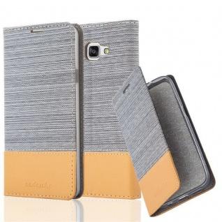 Cadorabo Hülle für Samsung Galaxy A7 2016 in HELL GRAU BRAUN - Handyhülle mit Magnetverschluss, Standfunktion und Kartenfach - Case Cover Schutzhülle Etui Tasche Book Klapp Style