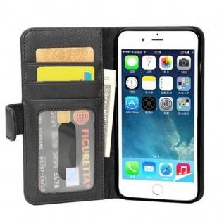 Cadorabo Hülle für Apple iPhone 8 PLUS / iPhone 7 PLUS / iPhone 7S PLUS in OXID SCHWARZ Handyhülle mit Magnetverschluss und 3 Kartenfächern Case Cover Schutzhülle Etui Tasche Book Klapp Style