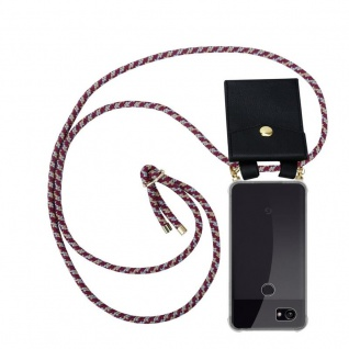 Cadorabo Handy Kette für Google Pixel 2 XL in ROT GELB WEISS - Silikon Necklace Umhänge Hülle mit Gold Ringen, Kordel Band Schnur und abnehmbarem Etui ? Schutzhülle