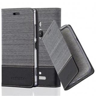 Cadorabo Hülle für Nokia Lumia 925 in GRAU SCHWARZ - Handyhülle mit Magnetverschluss, Standfunktion und Kartenfach - Case Cover Schutzhülle Etui Tasche Book Klapp Style