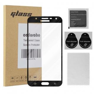 Cadorabo Vollbild Panzer Folie für Samsung Galaxy J7 2015 - Schutzfolie in TRANSPARENT mit SCHWARZ - Gehärtetes (Tempered) Display-Schutzglas in 9H Härte mit 3D Touch Kompatibilität