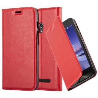 Cadorabo Hülle für Asus ZenFone 5 2014 in APFEL ROT - Handyhülle mit Magnetverschluss, Standfunktion und Kartenfach - Case Cover Schutzhülle Etui Tasche Book Klapp Style