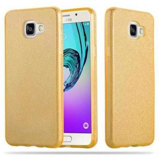Cadorabo Hülle für Samsung Galaxy A5 2016 - Hülle in STERNENSTAUB GOLD ? TPU Silikon und Hardcase Handyhülle im Glitzer Design - Hard Case TPU Silikon Schutzhülle