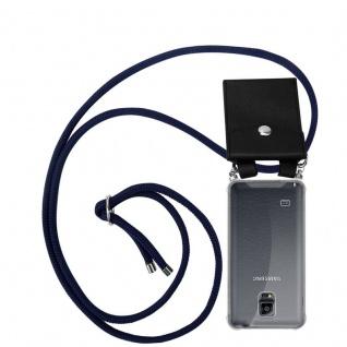 Cadorabo Handy Kette für Samsung Galaxy NOTE 4 in TIEF BLAU Silikon Necklace Umhänge Hülle mit Silber Ringen, Kordel Band Schnur und abnehmbarem Etui Schutzhülle