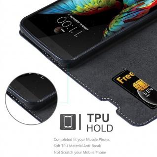 Cadorabo Hülle für LG K10 2016 in DUNKEL BLAU BRAUN ? Handyhülle mit Magnetverschluss, Standfunktion und Kartenfach ? Case Cover Schutzhülle Etui Tasche Book Klapp Style
