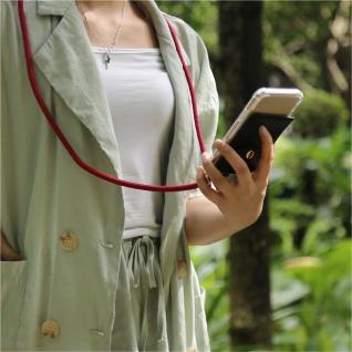 Cadorabo Handy Kette für Sony Xperia 1 in RUBIN ROT - Silikon Necklace Umhänge Hülle mit Gold Ringen, Kordel Band Schnur und abnehmbarem Etui ? Schutzhülle - Vorschau 3