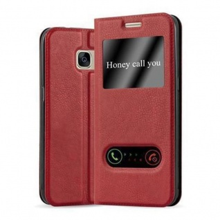 Cadorabo Hülle für Samsung Galaxy S7 in SAFRAN ROT - Handyhülle mit Magnetverschluss, Standfunktion und 2 Sichtfenstern - Case Cover Schutzhülle Etui Tasche Book Klapp Style