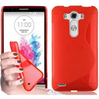 Cadorabo ! PREMIUM - Silikon TPU Schutzhülle im S-Line Design für LG G3 in INFERNO-ROT