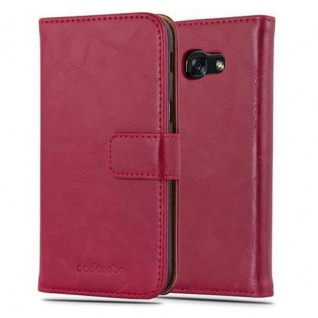 Cadorabo Hülle für Samsung Galaxy A5 2017 in WEIN ROT ? Handyhülle mit Magnetverschluss, Standfunktion und Kartenfach ? Case Cover Schutzhülle Etui Tasche Book Klapp Style