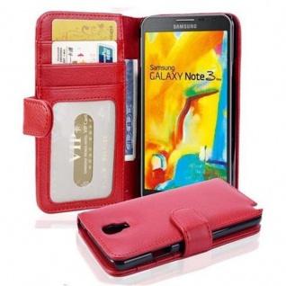 Cadorabo Hülle für Samsung Galaxy NOTE 3 NEO - Hülle in INFERNO ROT ? Handyhülle mit 3 Kartenfächern - Case Cover Schutzhülle Etui Tasche Book Klapp Style