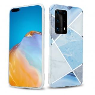 Cadorabo Hülle für Huawei P40 PRO Hülle in Blau weiß grau Marmor No.2 Handyhülle aus TPU Silikon mit Muster Mosaik Silikonhülle Schutzhülle Ultra Slim Back Cover Case Bumper