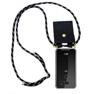 Cadorabo Handy Kette für LG V30 in SCHWARZ SILBER ? Silikon Necklace Umhänge Hülle mit Gold Ringen, Kordel Band Schnur und abnehmbarem Etui ? Schutzhülle