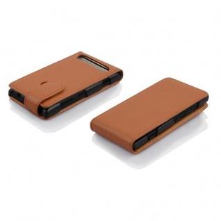 Cadorabo Hülle für Sony Xperia E1 in COGNAC BRAUN - Handyhülle im Flip Design aus strukturiertem Kunstleder - Case Cover Schutzhülle Etui Tasche Book Klapp Style - Vorschau 3