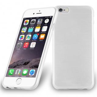 Cadorabo Hülle für Apple iPhone 6 PLUS / iPhone 6S PLUS - Hülle in SILBER ? Handyhülle aus TPU Silikon in gebürsteter Edelstahloptik (Brushed Design) - Ultra Slim Soft Backcover Case Bumper