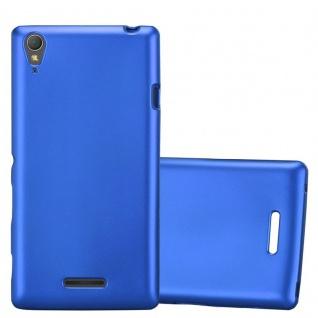 Cadorabo Hülle für Sony Xperia T3 in METALLIC BLAU - Handyhülle aus flexiblem TPU Silikon - Silikonhülle Schutzhülle Ultra Slim Soft Back Cover Case Bumper