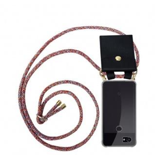 Cadorabo Handy Kette für Google Pixel 2 in COLORFUL PARROT Silikon Necklace Umhänge Hülle mit Gold Ringen, Kordel Band Schnur und abnehmbarem Etui Schutzhülle