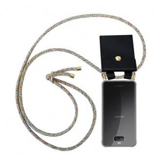 Cadorabo Handy Kette für Sony Xperia 10 in RAINBOW - Silikon Necklace Umhänge Hülle mit Gold Ringen, Kordel Band Schnur und abnehmbarem Etui ? Schutzhülle