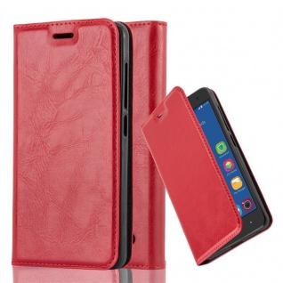 Cadorabo Hülle für ZTE BLADE L7 in APFEL ROT Handyhülle mit Magnetverschluss, Standfunktion und Kartenfach Case Cover Schutzhülle Etui Tasche Book Klapp Style