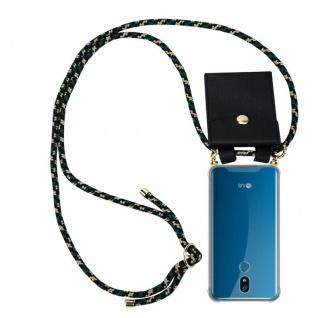 Cadorabo Handy Kette für LG K40 in CAMOUFLAGE - Silikon Necklace Umhänge Hülle mit Gold Ringen, Kordel Band Schnur und abnehmbarem Etui ? Schutzhülle