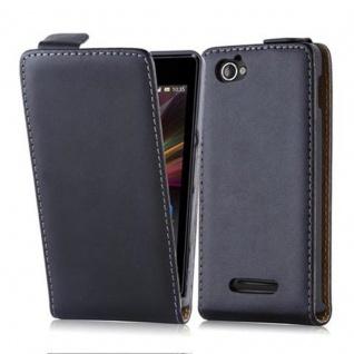 Cadorabo Hülle für Sony Xperia M in KAVIAR SCHWARZ - Handyhülle im Flip Design aus glattem Kunstleder - Case Cover Schutzhülle Etui Tasche Book Klapp Style