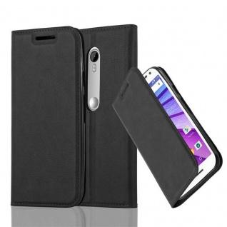 Cadorabo Hülle für Motorola MOTO G3 in NACHT SCHWARZ - Handyhülle mit Magnetverschluss, Standfunktion und Kartenfach - Case Cover Schutzhülle Etui Tasche Book Klapp Style