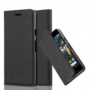 Cadorabo Hülle für Google PIXEL 2 in NACHT SCHWARZ Handyhülle mit Magnetverschluss, Standfunktion und Kartenfach Case Cover Schutzhülle Etui Tasche Book Klapp Style