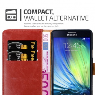 Cadorabo Hülle für Samsung Galaxy A7 2015 in WEIN ROT - Handyhülle mit Magnetverschluss, Standfunktion und Kartenfach - Case Cover Schutzhülle Etui Tasche Book Klapp Style - Vorschau 5