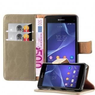 Cadorabo Hülle für Sony Xperia Z1 Compact in CAPPUCCINO BRAUN ? Handyhülle mit Magnetverschluss, Standfunktion und Kartenfach ? Case Cover Schutzhülle Etui Tasche Book Klapp Style