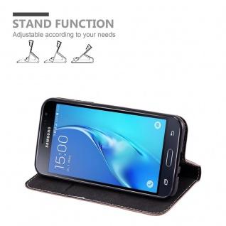 Cadorabo Hülle für Samsung Galaxy J3 / J3 DUOS 2016 in GOLD SCHWARZ - Handyhülle mit Magnetverschluss, Standfunktion und Kartenfach - Case Cover Schutzhülle Etui Tasche Book Klapp Style - Vorschau 3