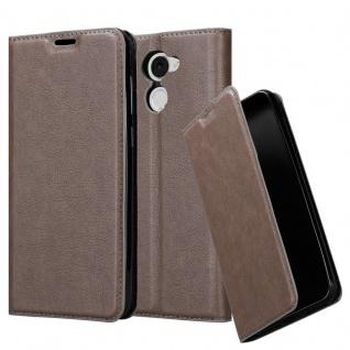 Cadorabo Hülle für Huawei Enjoy 7 PLUS in KAFFEE BRAUN - Handyhülle mit Magnetverschluss, Standfunktion und Kartenfach - Case Cover Schutzhülle Etui Tasche Book Klapp Style
