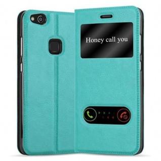 Cadorabo Hülle für Huawei P10 LITE in MINT TÜRKIS - Handyhülle mit Magnetverschluss, Standfunktion und 2 Sichtfenstern - Case Cover Schutzhülle Etui Tasche Book Klapp Style