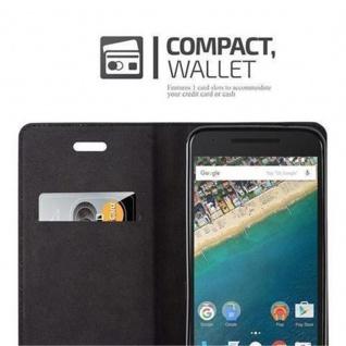 Cadorabo Hülle für LG NEXUS 5X in NACHT SCHWARZ - Handyhülle mit Magnetverschluss, Standfunktion und Kartenfach - Case Cover Schutzhülle Etui Tasche Book Klapp Style - Vorschau 3