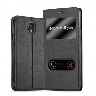 Cadorabo Hülle für Samsung Galaxy NOTE 3 in KOMETEN SCHWARZ Handyhülle mit Magnetverschluss, Standfunktion und 2 Sichtfenstern Case Cover Schutzhülle Etui Tasche Book Klapp Style