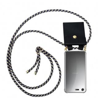 Cadorabo Handy Kette für Sony Xperia XZ Premium in DUNKELBLAU GELB - Silikon Necklace Umhänge Hülle mit Gold Ringen, Kordel Band Schnur und abnehmbarem Etui ? Schutzhülle