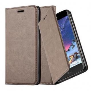 Cadorabo Hülle für LG K8 2017 in KAFFEE BRAUN Handyhülle mit Magnetverschluss, Standfunktion und Kartenfach Case Cover Schutzhülle Etui Tasche Book Klapp Style