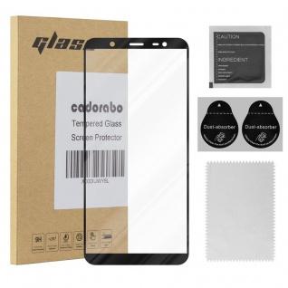 Cadorabo Vollbild Panzer Folie für Samsung Galaxy J8 2018 - Schutzfolie in TRANSPARENT mit SCHWARZ - Gehärtetes (Tempered) Display-Schutzglas in 9H Härte mit 3D Touch Kompatibilität