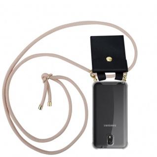 Cadorabo Handy Kette für Samsung Galaxy NOTE 3 in PERLIG ROSÉGOLD - Silikon Necklace Umhänge Hülle mit Gold Ringen, Kordel Band Schnur und abnehmbarem Etui ? Schutzhülle