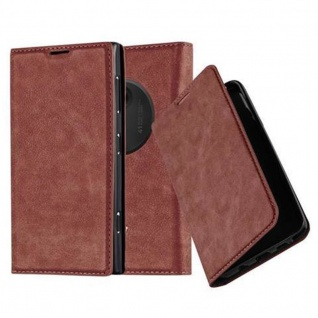 Cadorabo Hülle für Nokia Lumia 1020 in CAPPUCCINO BRAUN - Handyhülle mit Magnetverschluss, Standfunktion und Kartenfach - Case Cover Schutzhülle Etui Tasche Book Klapp Style