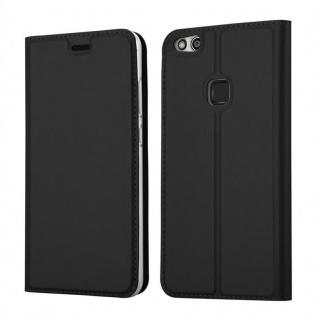 Cadorabo Hülle für Huawei P10 LITE in CLASSY SCHWARZ - Handyhülle mit Magnetverschluss, Standfunktion und Kartenfach - Case Cover Schutzhülle Etui Tasche Book Klapp Style